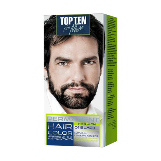 TOP TEN for men Крем-краска для мужчин 01 Black (черный), для волос и бороды